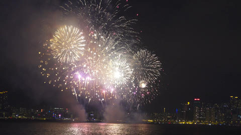 Chinese New Year Fireworks in Hong Kong Footage