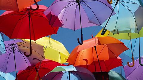 Background colorful umbrella street decoration Footage
