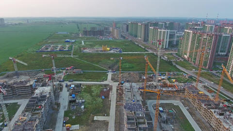 Construction of new homes, aerial view 4k Footage