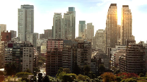 Sunset Over The Skyscrapers Of Buenos Aires Footage