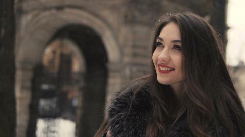Beautiful Brunette Girl Snowy Walking Footage