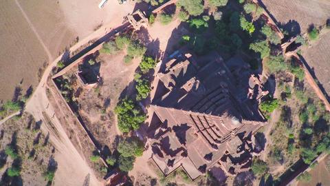 Flying over Dhammayangyi Pagoda in Bagan, Myanmar Footage
