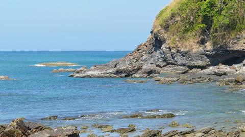Landscape with rock coast and sea, Koh Lanta Footage