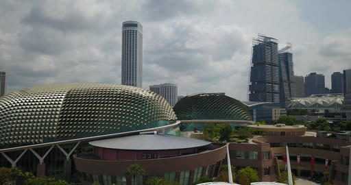 Singapore aerial downtown architecture marina bay sands goverment buildings Live Action