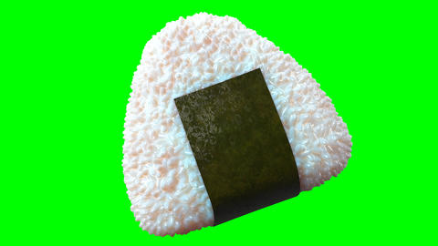 Onigiri rice ball wrapped in Nori seaweed on green chroma key. Loop able 3D animation Animation
