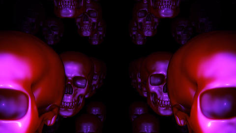 Groups Of Halloween Skulls Move Vertically And Jiggle In Seamless Loop On Transparent Background Animation