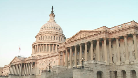 The Capitol Building is framed in soft light Stock Video Footage