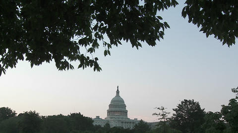 A very wide shot of the Capitol Building in DC at dusk Footage