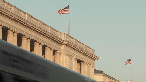 Flags fly atop buildings in Washington DC Footage