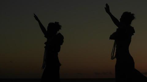 Native Hawaiian dancers perform at sunset Stock Video Footage