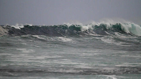 Big waves roll in after a storm on the ocean Stock Video Footage