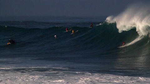 Multiple surfers ride very big waves in Hawaii Stock Video Footage
