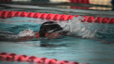 Side view of a swimmer in lanes in a pool Footage