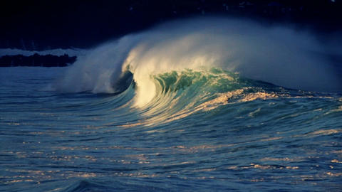 Beautiful waves roll in on the ocean Stock Video Footage