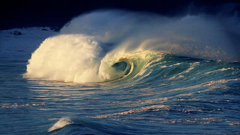 Beautiful waves roll in on the ocean Footage
