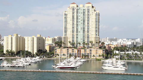 Wide shot of downtown Miami Florida POV from a cru Footage