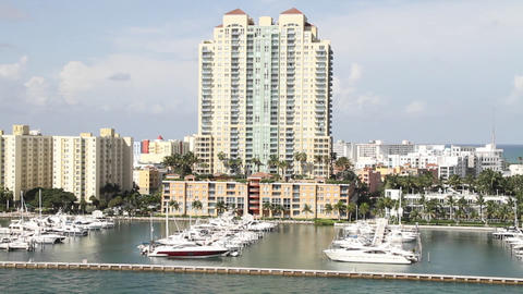 Wide shot of downtown Miami Florida POV from a cru Stock Video Footage