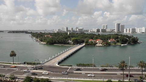 Wide shot Miami Florida roads and high rise apartm Footage