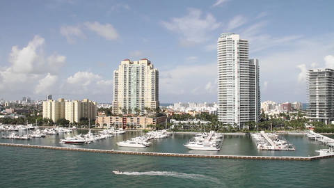 Wide shot Miami Florida high rise apartments from Stock Video Footage