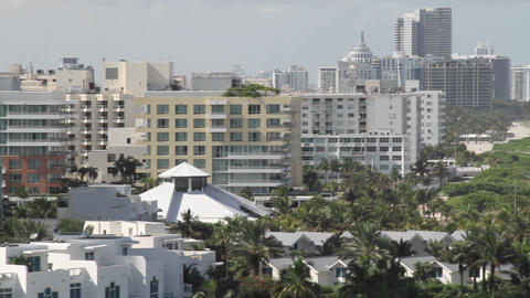 Wide shot Miami Florida skyline from the POV from Stock Video Footage