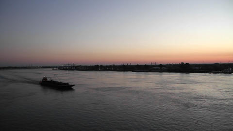 A large barge travels on the Mississippi River Stock Video Footage