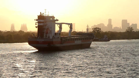 A large barge or ferry boat near Miami, Florida Footage