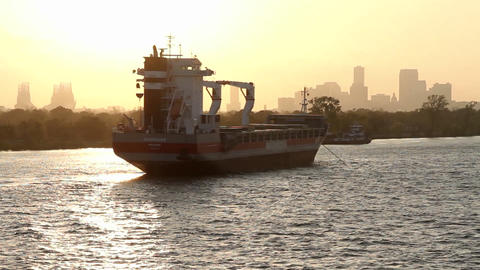 A large barge or ferry boat near Miami, Florida Stock Video Footage