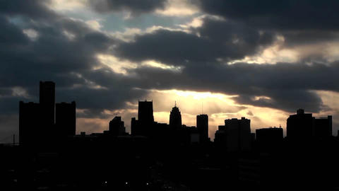 Buildings on a cloudy evening in Detroit, Michigan Stock Video Footage