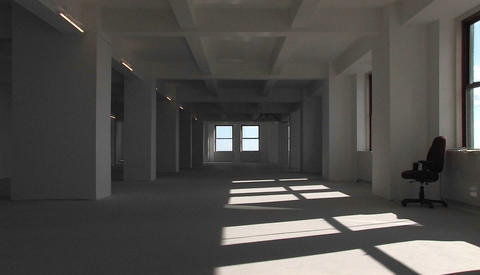An empty building from inside, the camera zooms towards... Stock Video Footage