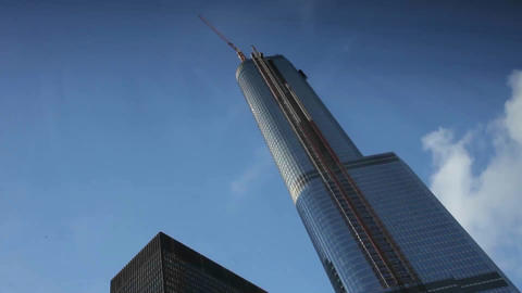 A skyscraper under construction in Chicago, Illinois Stock Video Footage