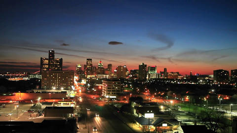 Time lapse late evening view of Detroit, Michigan Stock Video Footage