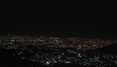 A glittering city skyline at night Stock Video Footage