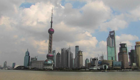 Boats on the Yangtze River passing the Pudong district in Shanghai Footage