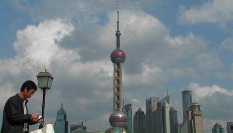 People passing through the Pudong district in Shanghai Stock Video Footage