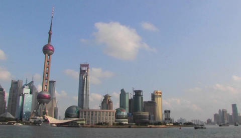An establishing shot of Shanghai, China with the Huangpu... Stock Video Footage