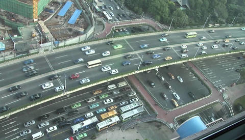 Overhead picture of sped up traffic on an overpass in... Stock Video Footage