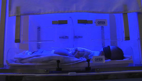A baby in an incubator Footage