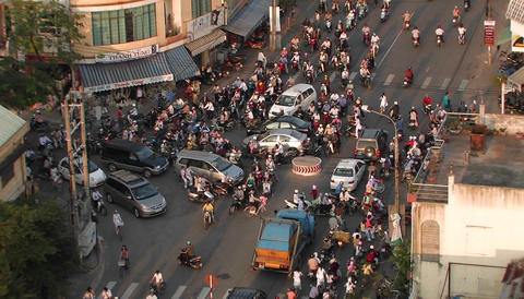 Pedestrian and motor traffic at a busy three-way... Stock Video Footage