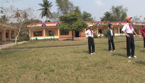 Students of primary school doing exercise in the school... Stock Video Footage