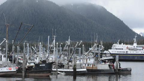 Alaska Marine Highway Ferry entering Wrangell Narr Footage