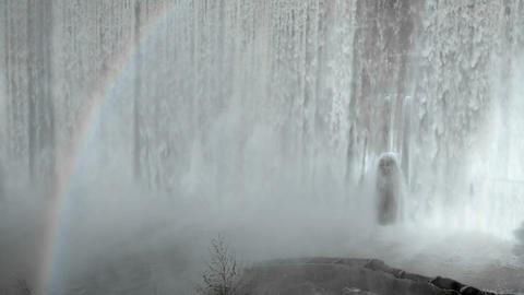 Rainbow below Matilija Creek spilling over the obs Stock Video Footage