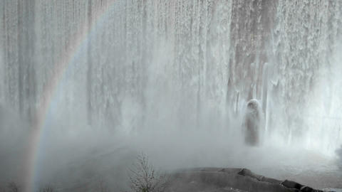 Rainbow below Matilija Creek spilling over the obs Stock Video Footage
