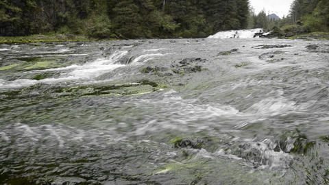 Pavlof River flowing into Freshwater Bay in Pavlof Stock Video Footage