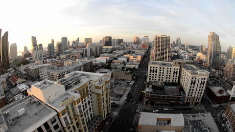 Panning view of downtown San Diego from above in t Stock Video Footage