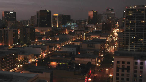 Downtown San Diego at night from above in the Nati Footage