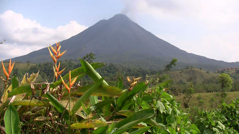 Pan across an active volcano in Costa Rica Stock Video Footage