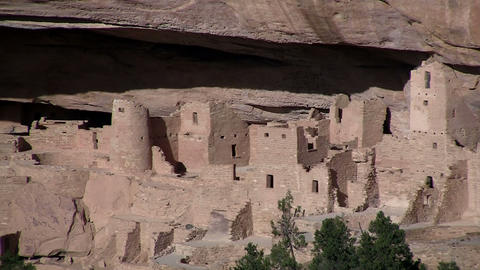 Pan across ancient American Indian dwellings at Me Stock Video Footage