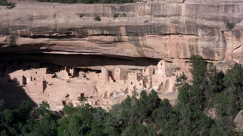 Zoom into ancient American Indian dwellings at Mes Stock Video Footage