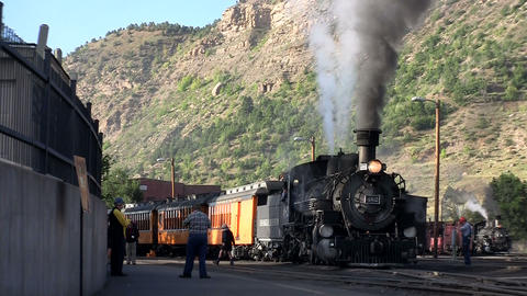A steam train at the station Footage