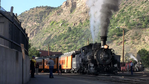A steam train at the station Stock Video Footage